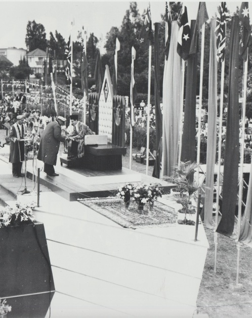The Aga Khan receiving the symbolic sword of justice during his ceremonial enthronement ceremony held on Dar-es-Salaam, October 19, 1957 in Dar-es-Salaam, Tanzania (then Tanganyika).