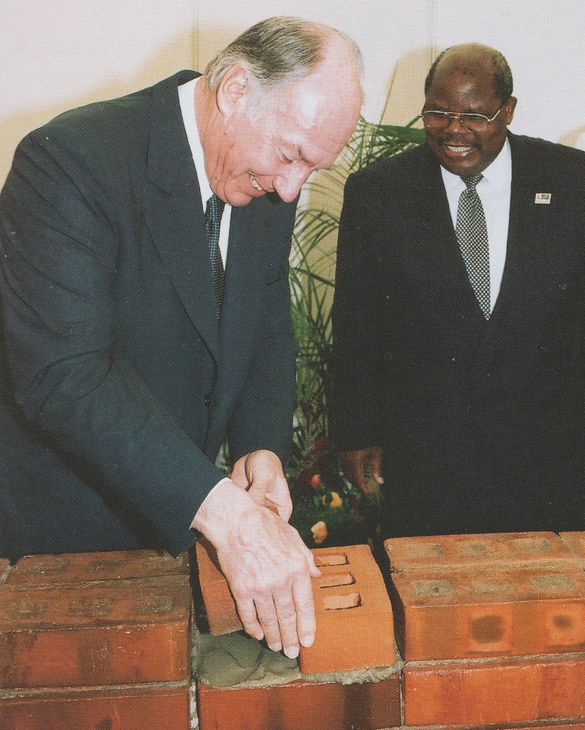 The Aga Khan and Tanzanian President Benjamin Mkapa laying the foundation stone for the expansion of the Aga Khan Hospital, Dar-es-Salaam. Speaking on the occasion on March 18, 2005, the Aga Khan stated,