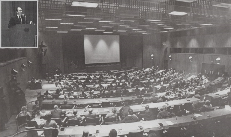 """Service to the world community is a family tradition for His Highness"", declared the UN Secretary General Kurt Waldheim as he welcomed the Aga Khan to the United Nations on December 11, 1980. The Aga Khan was provided a forum to share the first results of ongoing research for a contemporary new Muslim architecture at the Trusteeship Council Chambers which were crowded with UN diplomats, architects, journalists and others for the special event. Fittingly, the event was sponsored by the United Nations Development Program, the agency responsible for building the physical and economic infrastructures in the developing world, which was at that time led by Bradford Morse. Photo: Ismaili Forum, UK, July 1981."