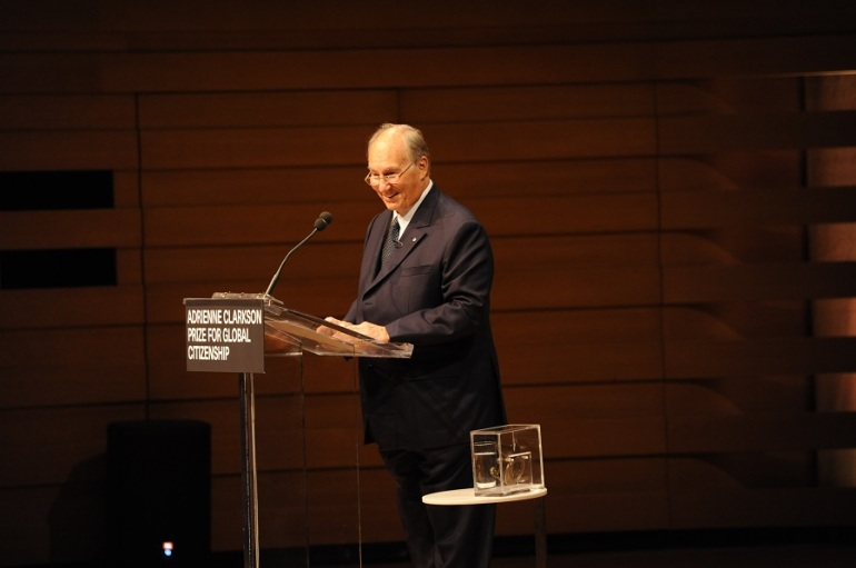 His Highness the Aga Khan speaking after receiving the inaugural Adrienne Clarkson Prize for Global Citizenship in Toronto, Canada, on 21 September 2016. The prize - seen beside the Aga Khan - recognises an individual who has, through thought and dialogue, encouraged approaches and strategies that strive to remove barriers, change attitudes, and reinforce the principles of tolerance and respect. Photo: AKDN/Lisa Sakulensky.