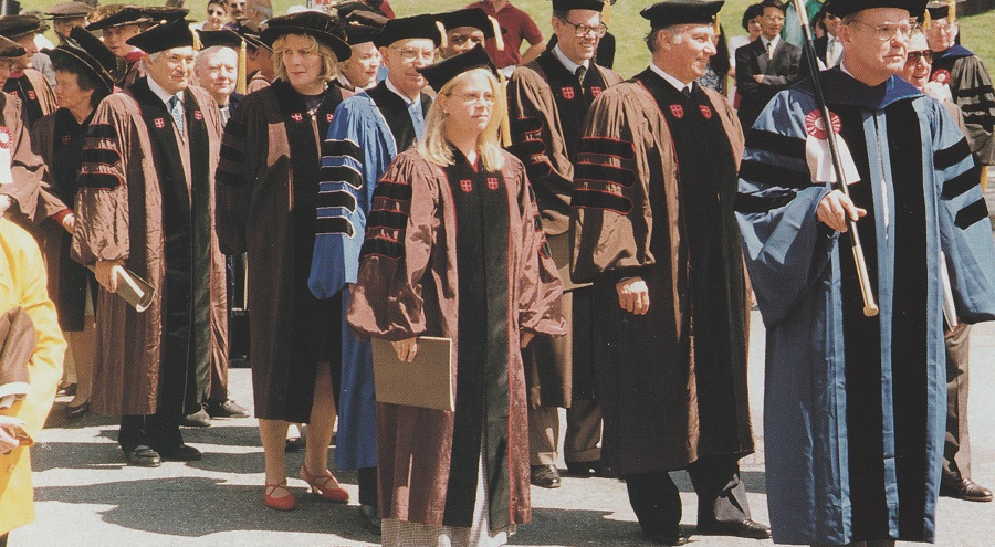 "The Aga Khan delivered the Baccalaureate Address at Brown University, Providence, Rhode Island, on May 26, 1996. On the following day, he was the recipient of Brown University's Honourary Degree of Doctor of Laws for ""service to Islam and to all of human kind."" In the photo, the Aga Khan is seen leading the Honorary Degree recipients in the Academic Procession, which also included Sandra Day O'Connor, the first woman judge on the United States Supreme Court, and James Wolfensohn, President of the World Bank."