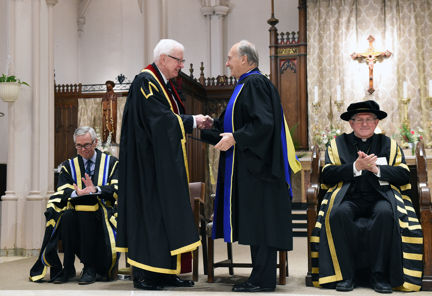 The Pontifical Institute of Mediaeval Studies, the oldest humanities research institute in Canada, on May 20, 2016 conferred an Honorary Degree of Doctor of Letters upon His Highness the Aga Khan, in recognition of his work to advance, and advocate for, pluralistic societies across the globe. Richard Alway, Praeses of the Pontifical Institute of Mediaeval Studies congratulates His Highness the Aga Khan upon conferring the honorary degree. Photo: AKDN/Zahur Ramji.