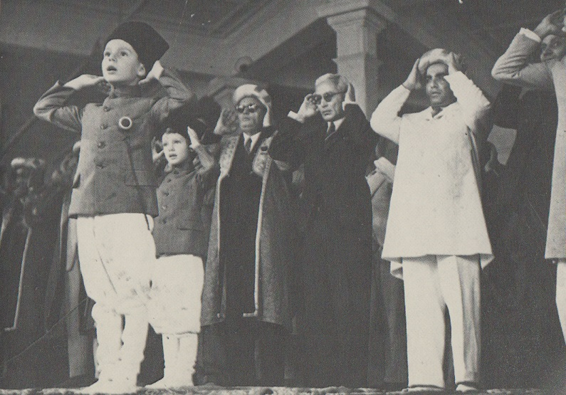 Prince Karim Aga Khan reciting Idd Namaz on the occasion of Idd ul Fitr in September 1944 when he was 7 years old.