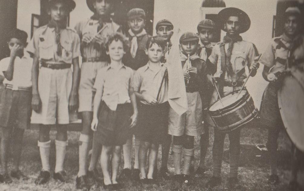 Prince Karim and Prince Amyn with the Mobasa Aga Khan Scouts Band. Photo: Africa Ismaili.
