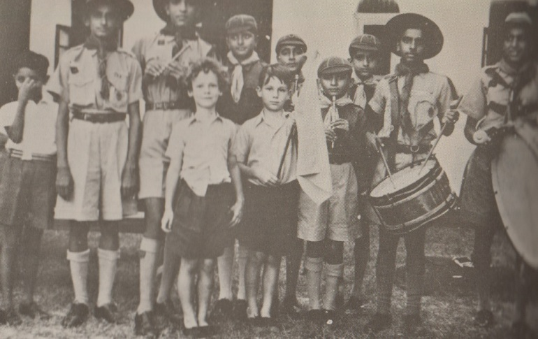 Prince Karim and Prince Amyn with the Mobasa Aga Khan Scouts Band. Photo: Africa Ismaili.