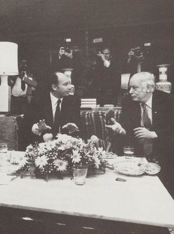 The Aga Khan and Rene Levesque have an animated conversation