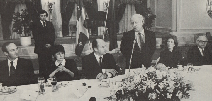Premier René Lévesque speaking in Montreal during the Aga Khan's Silver Jubilee visit to Montreal.