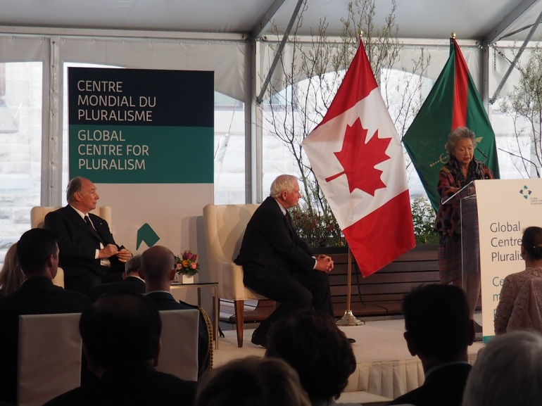 Adrienne Clarkson closing remrks Global Centre for Pluralism in the presence of David Johnston and the Aga Khan. Photo: Malik Merchant.
