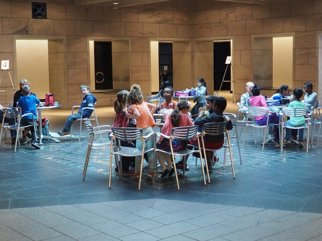 Children enjoy some free time during their visit to the National Art Gallery which is located just metres south to the Global Centre for Pluralism.