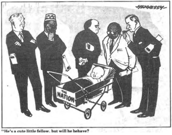 The Nations first editorial cartoon in 1960