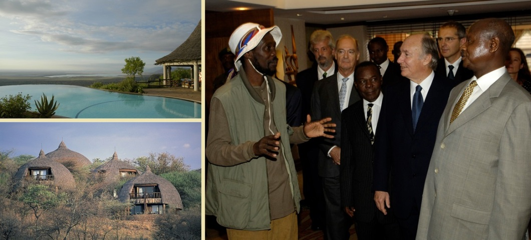 Aga Khan at the opening of the Kampala Serena and photos of the Serena Lodges at Lake Manyara and Serengeti National Parks