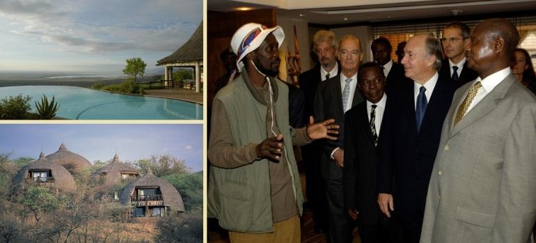 Aga Khan at the opening of the Kampala Serena and photos of the Serena Lodges at Lake Manyara and Serengeti National Parks