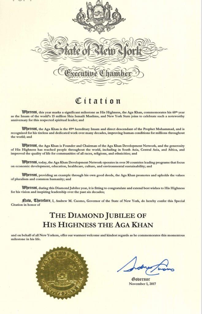 Aga Khan Citation by Governor Cuomo