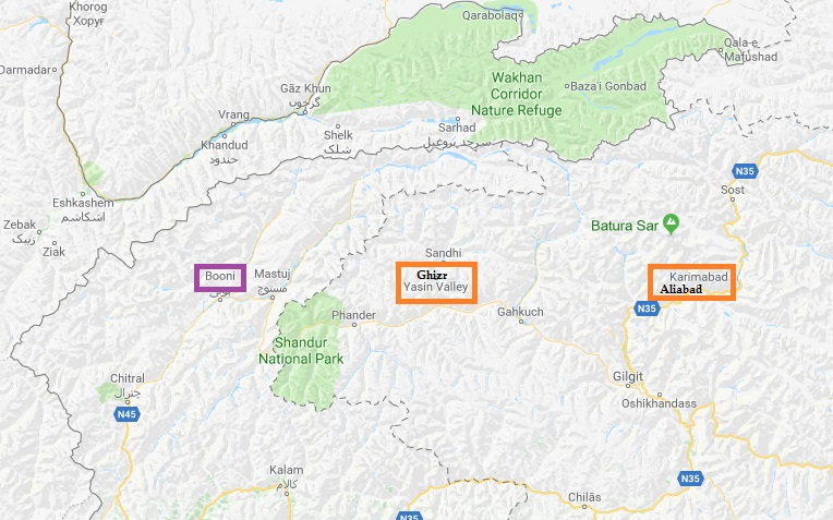 Darbar Locations - Booni in Chitral (North West Frontier Province), Ghizer (Gilgit-Baltistan), and Aliabad (Gilgit-Baltistan)
