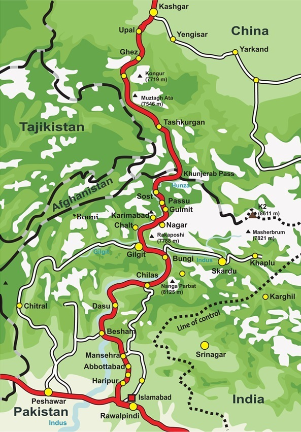 Gilgit-Baltistan Map with surrounding regions