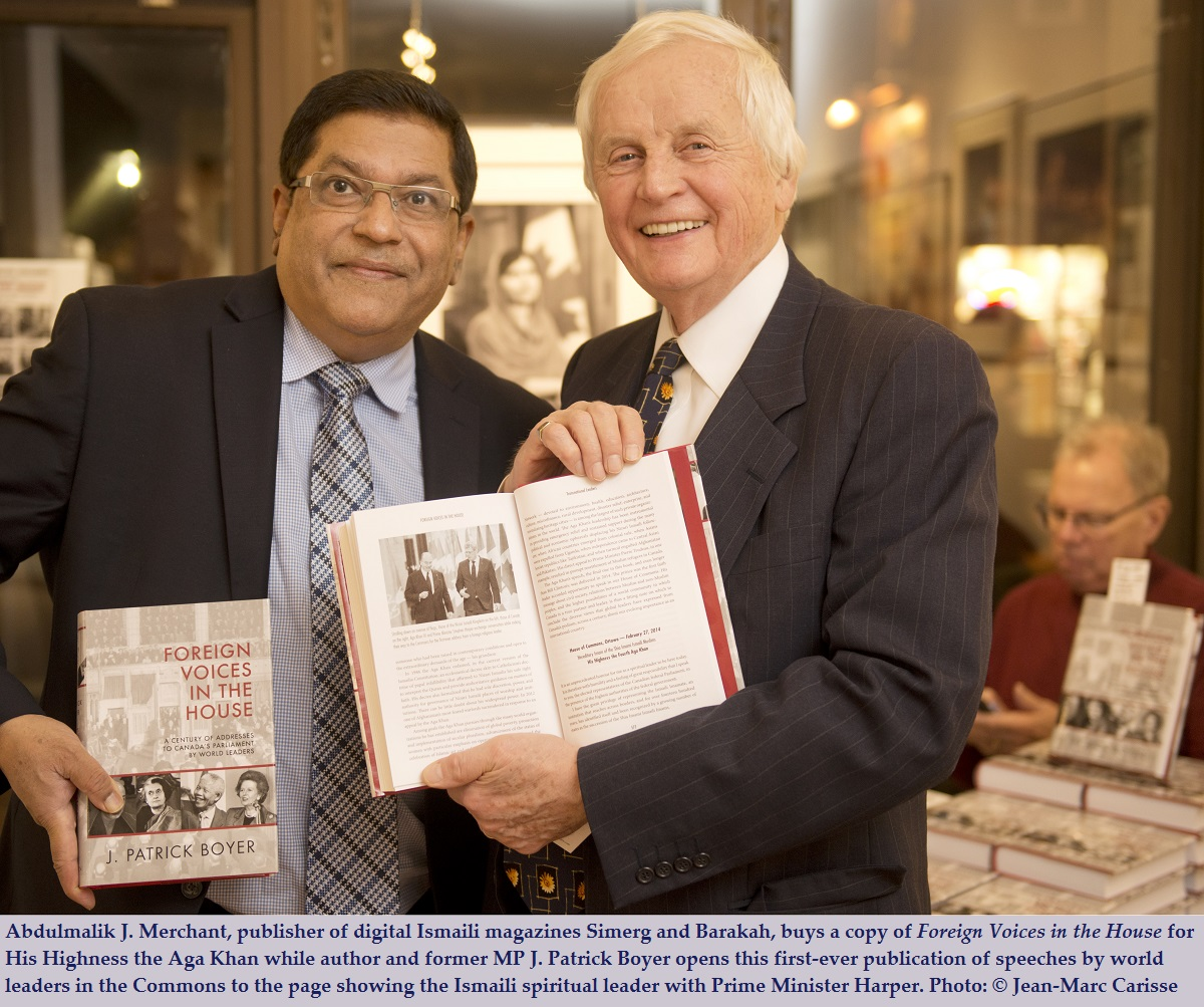 """Exclusive: J. Patrick Boyer's thought provoking insights on the Aga Khan as he talks about his book """"Foreign Voices in the House"""" in an interview with Barakah"""