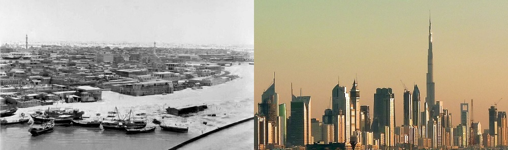 AlRas_District-Mid1960s-and modern skyline with Burj Khalifa