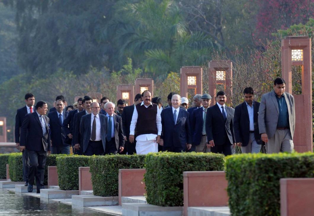 20180221_Aga Khan and VP India walking around Sunder Nursery