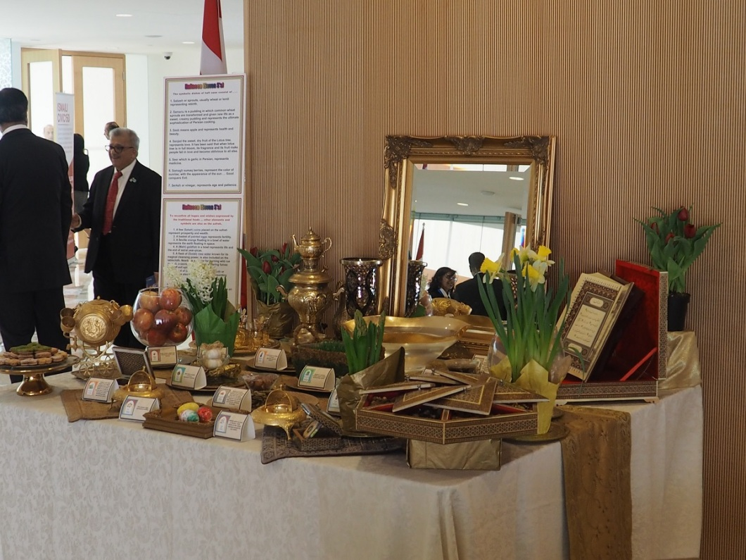 Haftseen table exhibit at the Ismaili Centre Toronto on the occasion of Navroz, March 21, 2018