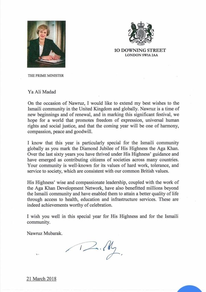 Navroz and Diamond Jubilee message for Ismailis and the Aga Khan from UK PM Theresa May