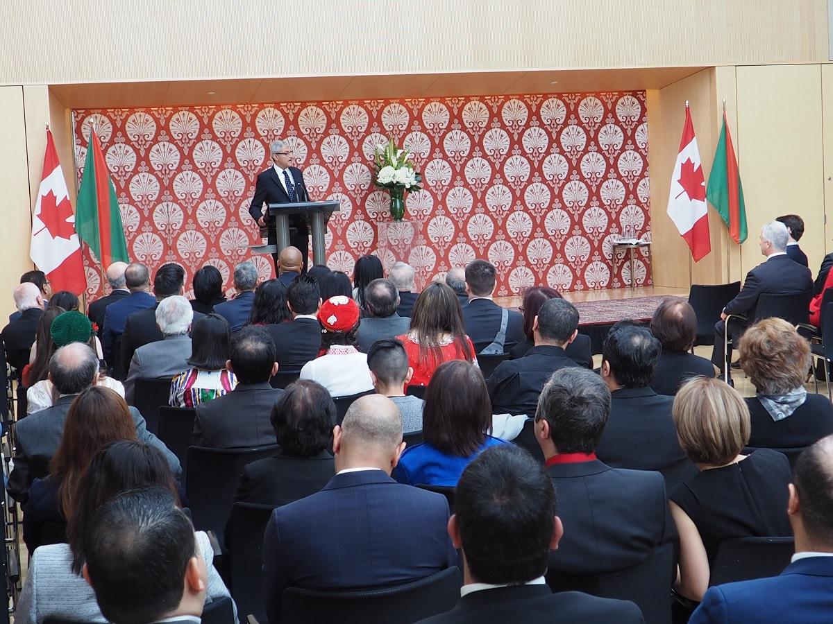 Malik Talib addressing the Navroz celebration greeting