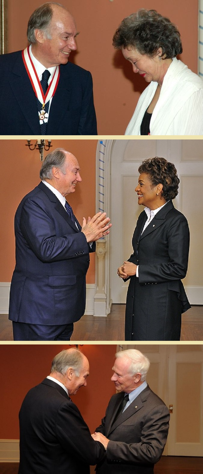 Aga Khan with Governor Generals Adrienn Clarkson, Michaëlle Jean and David Johnston