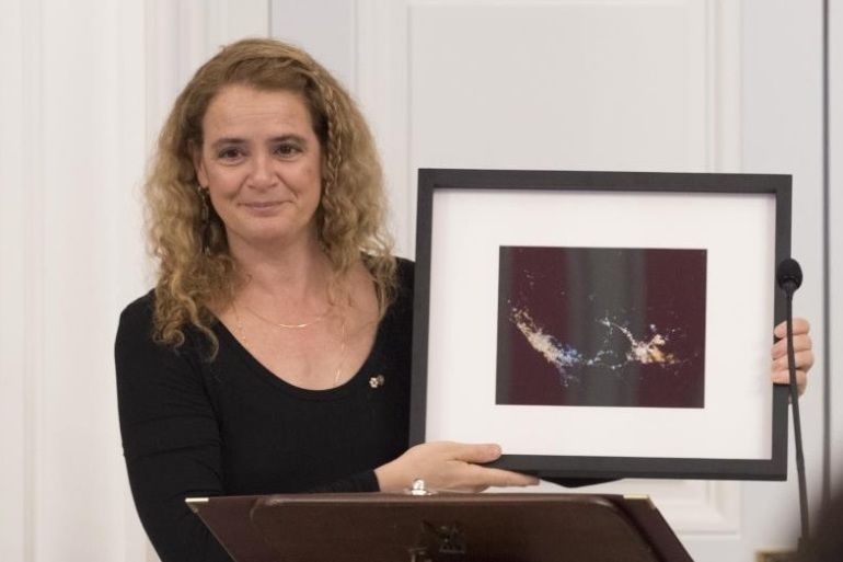 Governor General with framed photo of Messsa and Jeddah from space for Aga Khan medium
