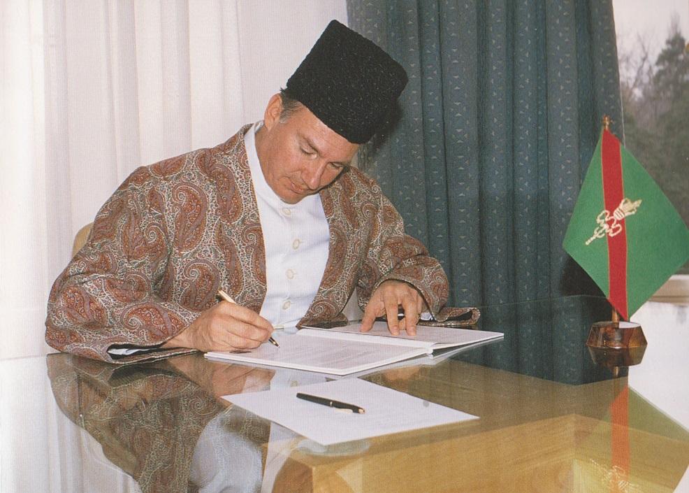 Aga Khan signing new Ismaili Constitution