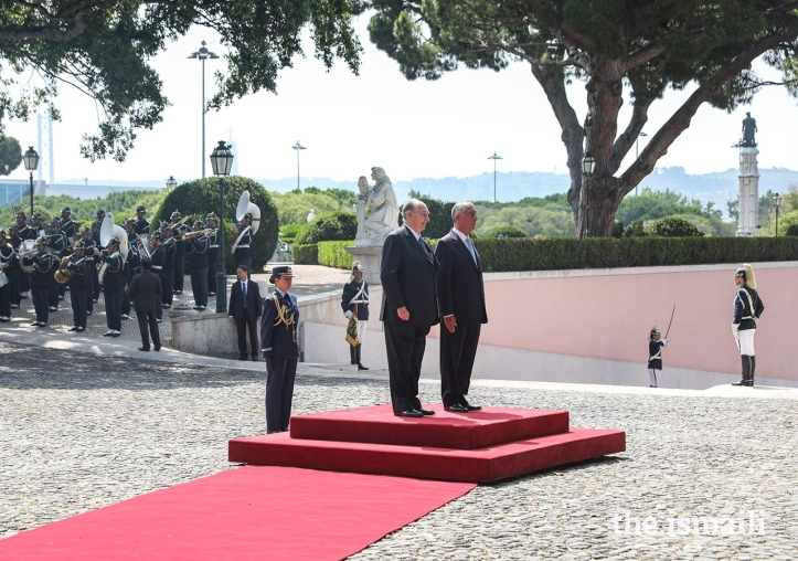 Aga Khan at Palácio de Belém during his Diamond Jubilee in Lisbon