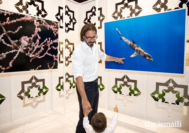 Prince Rahim and Prince Irfan at Prince Hussain's photographic exhibition in Lisbon Portugal.