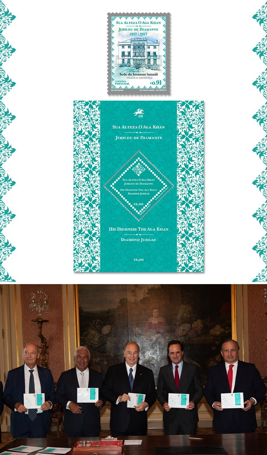'A diamond is forever': In honour of His Highness the Aga Khan, Portugal Postal Service releases a unique souvenir sheet embedded with a 1.24mm genuine diamond – a family keepsake for generations to come