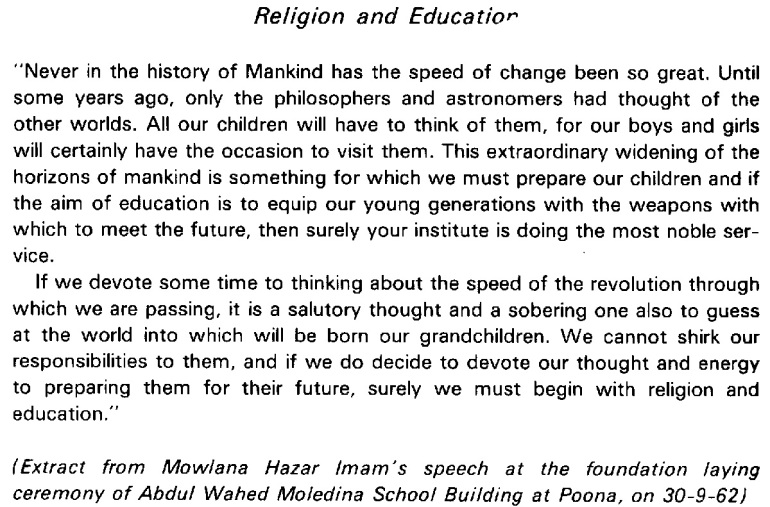 Aga Khan Mawlana Hazr Imam excerpt from speech