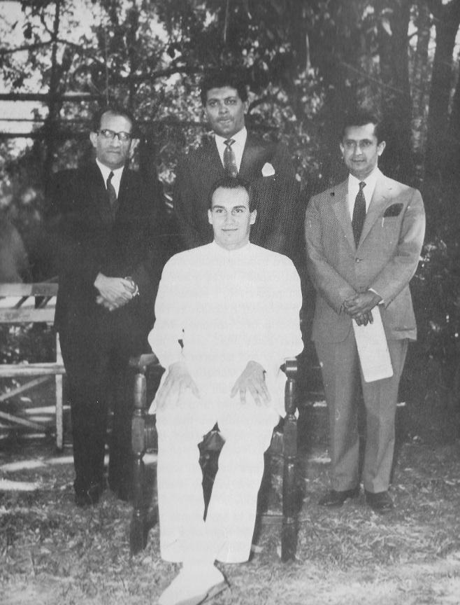 Aga Khan with territorial education administrators Verji Kassum and Shariff