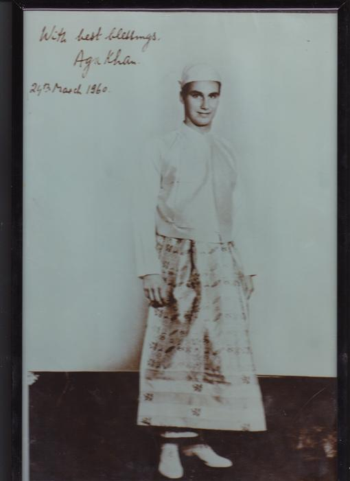 Aga Khan in traditional Burmese dress