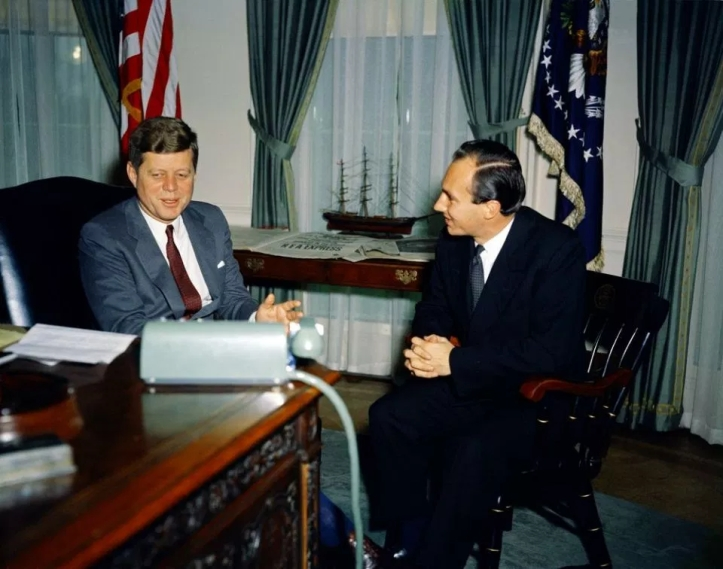 President Kennedy meets wth Aga Khan at Oval office in March 1961
