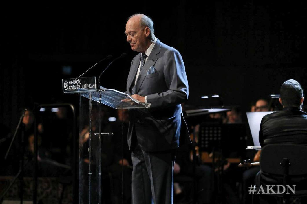 Prince Amyn Aga Khan delivering remarks during concert at Gulbenkian Museum