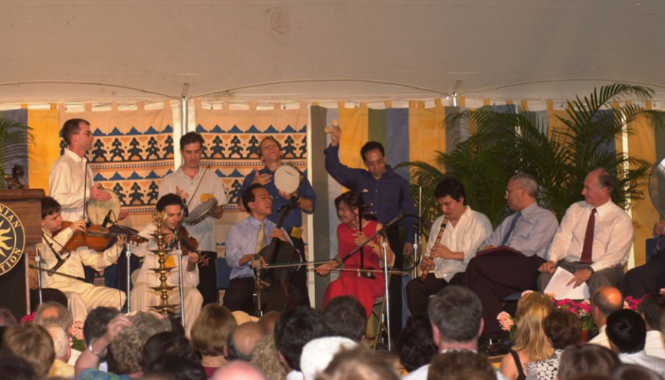 Yo-Yo Ma performs at the opening ceremony of the Smithsonian Folklife Silk Roads Festival in 2002