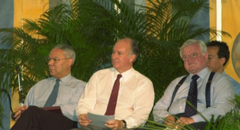 Aga Khan, Colin Powell and Edward Kennedy at the 2002 Smithsonian Folklife Festival devoted to The Silk Road