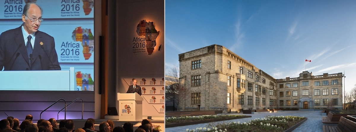 His Highness the Aga Khan giving the key note speech at the Africa Forum held in 2016 in Egypt; and the Global Centre for Pluralism Headquarters in Ottawa, Canada; Barakah
