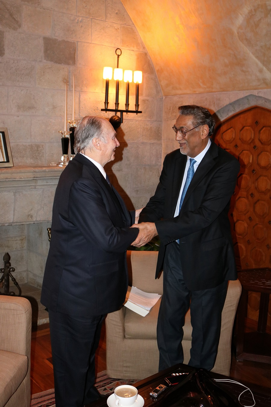New African editor-in-chief Anver Versi with His Highness the Aga Khan. Photo: © New African / Anver Versi
