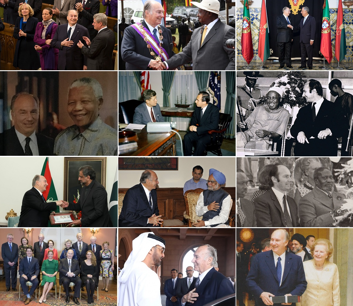 Aga Khan with world leades, Kennedy, Mandela, Nyerere, Kenyatta, Thatcher, Musevini, Parliament of Canada, Harrper, Trrudeau