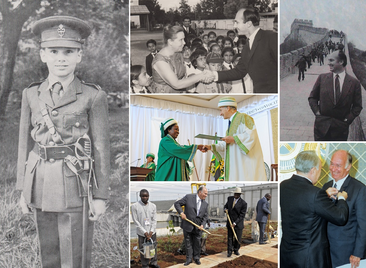 His Highness the Aga Khan collage, young boy in Nairrobi, graduation Dar es Salaam, Great Wall of China, tree planting with Mesevenilage