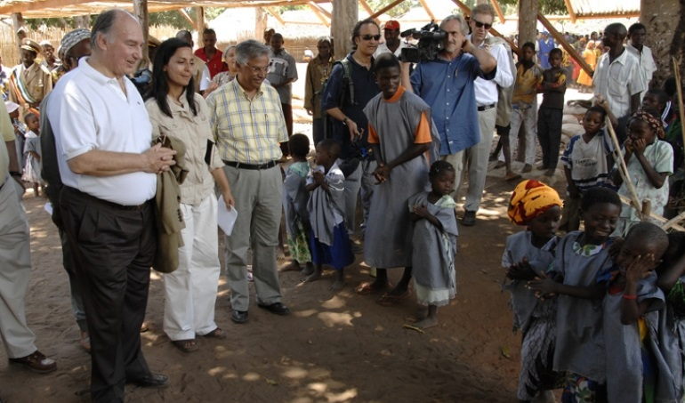 His Highness the Aga Khan visits a preschool in Mozambique's Cabo Delgado province' in rremote Natugo village.