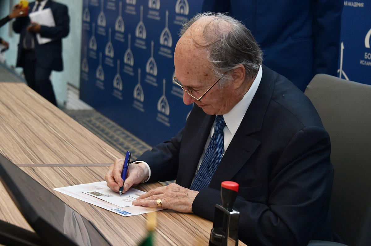Aga Khan signs FDC in Bolgar at the Muslim Academy