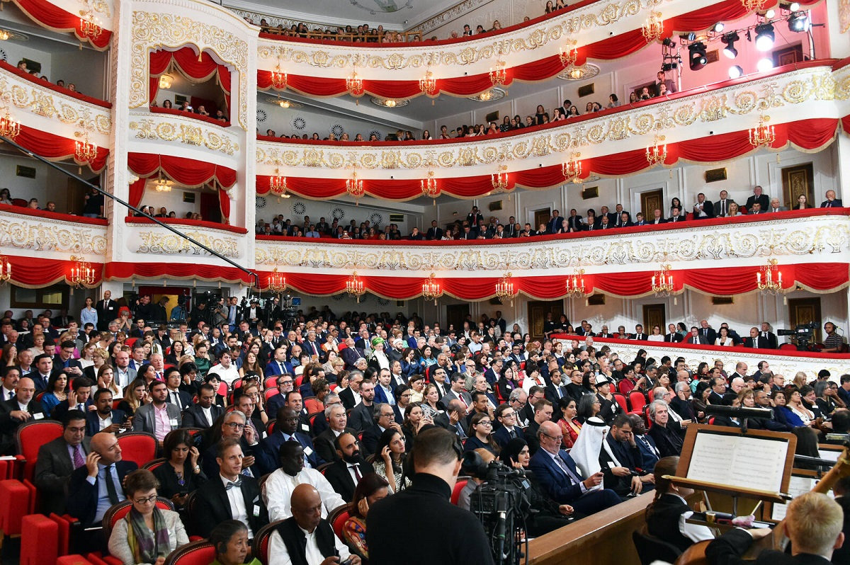 Guests at the Aga Khan Award for Architecture ceremony in Kazan's Tatar Academic State Opera and Ballet Theater