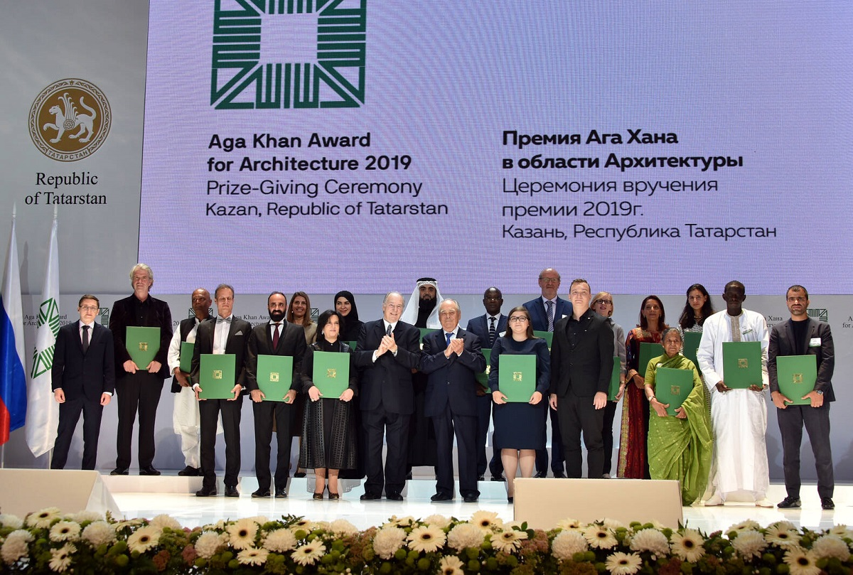 winners of the 2019 Aga Khan Award of Architectecture with His Highness the Aga Khan, the founder of the Award, and Mintimer Shaimiev, State Advisor of the Republic of Tatarstan
