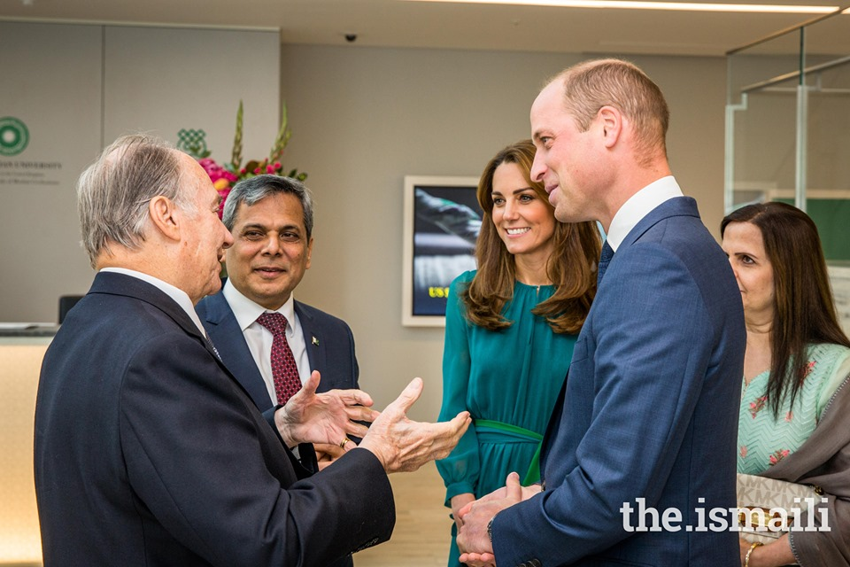 His Highness the Aga Khan with the Duke and Duchess of Cambridge and Pakistan's High Commissioner