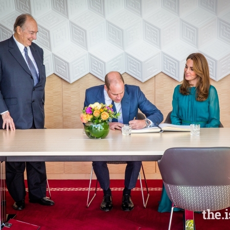 Prince William, His Highness the Aga Khan, Duchess of Cambridge at Aga Khan Centre London