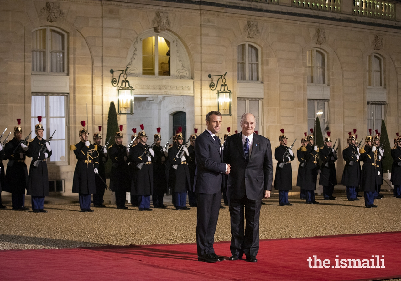 His Highness the Aga Khan, Mawlana Hazar Imam, received by President Emmanuel Macron at Élysée Palace, Paris Peace Forum, Barakah