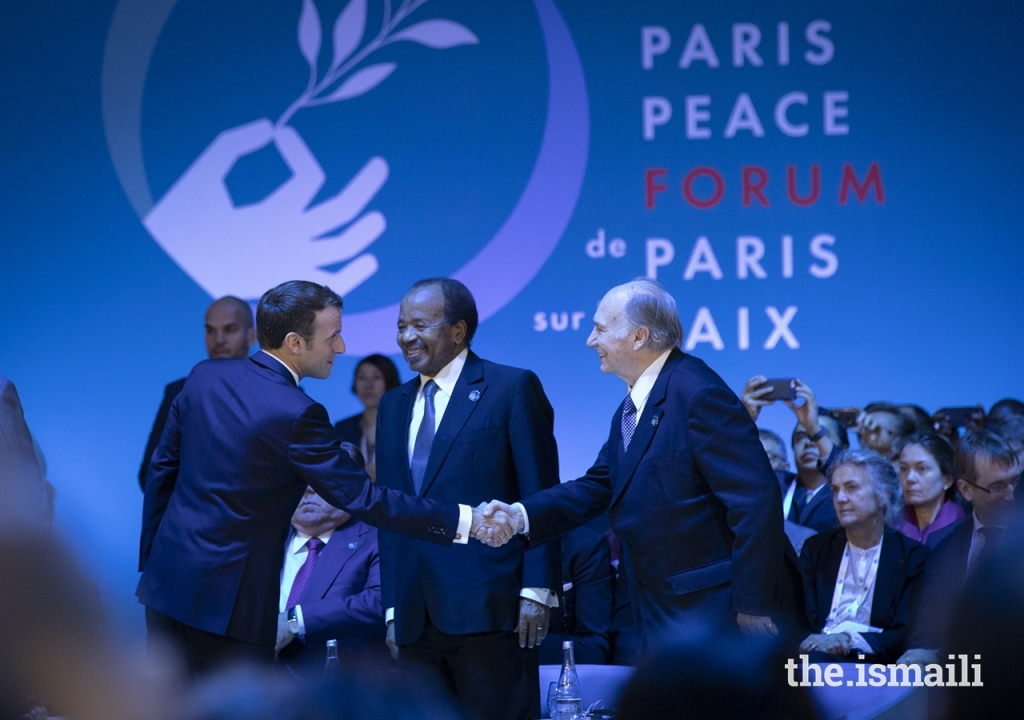 Emmanuel Macron, Aga Khan,  Paul Biya at Paris Peace Forum, Barakah and Simerg